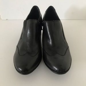 Black oxford style booties